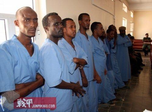 9名索马里海盗后被监禁在肯尼亚监狱,被判五年。
