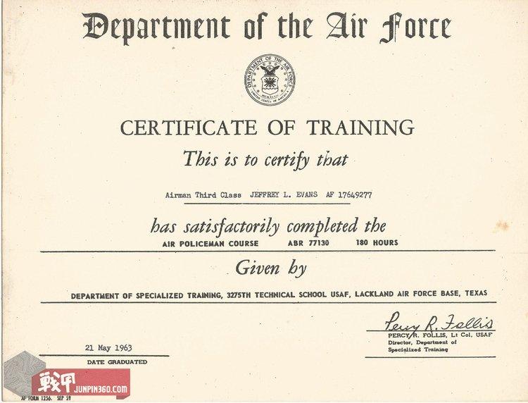 德州拉克兰空军基地第3275专业技术学校颁发给杰弗里·埃文斯的培训结业证书.jpg