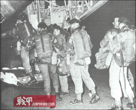 在卡米那登机准备飞往斯坦利维尔的比利时伞兵